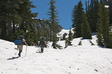 Crew ascending slopes near La Bohn Gap