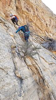 Downclimbing to our ropes