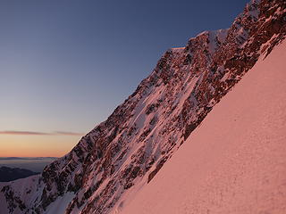 Upper east ridge lights up at sunrise