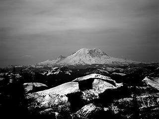 Black and white of Rainier.