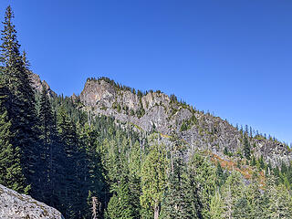 My first ever look at the cliff that terminated the pyramid shaped subpeak on the east side of Russian Butte. I've wanted to get a look at this for a long time.