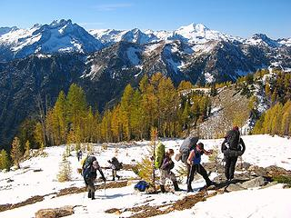 Hiking above larches