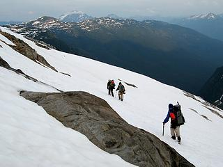 Hiking up to camp, with Jack Mtn and Stetattle Ridge ahead.
