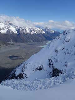 Looking down the Hochstetter icefall with Tasman Lake in the distance