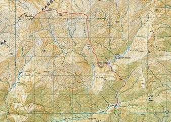 Surveyor Spur route map; note the new lake outlined in blue, the pink dot shows my bivy location