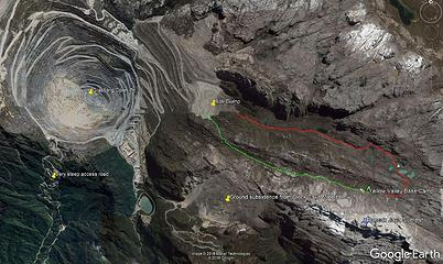 Google Earth overview map of the Grasberg Open pit and Puncak Jaya
