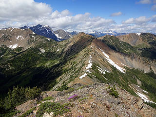 Looking west to Tatie Peak from Cone Mtn, 7405.'