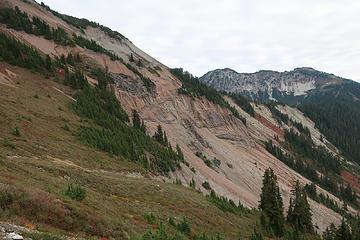 wall rock of the caldera, with dikes and even some intra- caldera collapse breccia blocks. Hannegan Peak upper left.