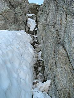 The gully I fell down, starting just below the big rock at the top, and stopping about five feet below this photo.