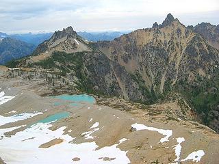 View from 7500 col.  Devore Lakes, White Goat, & Tupshin.