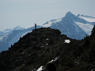 Mike on ridge, with Snowfield behind