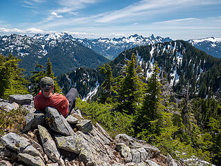 Bryan on the summit relaxing while I take many photos. It's amazing how pointed Kaleetan looks from this angle.
