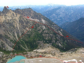 Annotated photo of our route up Tupshin and then to Devore Lakes (taken from Devore)