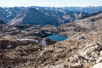 palisade basin, upper barrett lake from thunderbolt col