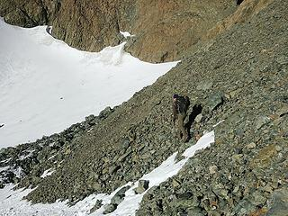Eric on tedious loose terrain in Surprise Basin