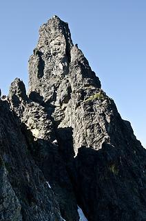 The intimidating summit block of Chimney Rock.  Photo courtesy of Iron.