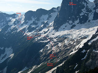 Route ascending to McMillan-Elephant Col Camp (looking ahead from Picket Pass)