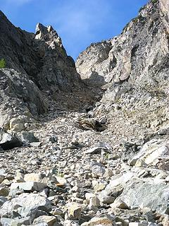 Looking up the gully