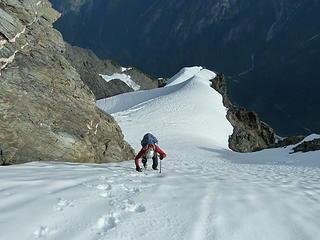 Wayne climbing steep snow.