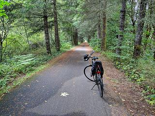 The Yelm-Tenino bike trail, a nice break from riding in traffic--sweet!