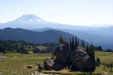 This is Split Rock and Mount Adams on PCT near Old Snowy Mountain in the Goat Rocks Wilderness.