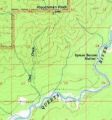 Kloochman Rock Trail - 1956 USGS 15-min topo Kloochman Rock (excerpt)