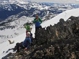 Matt, Heather and Josh at the gear stash