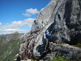 Steven took a direct 5th class route up Burman, but I traversed around it becuase it was wet in the crux