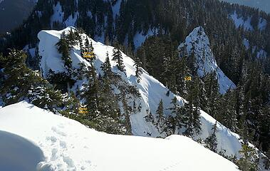 Looking back from the summit to the notch and col