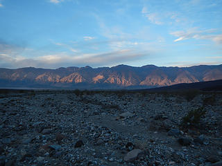 the eastern escarpment of the Inyo Range as viewed from Saline Valley with New York, Keynot, and Inyo peaks visible
