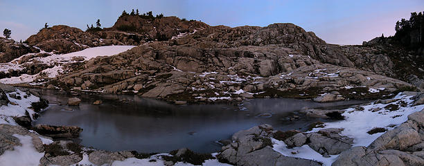 Flowing Tarn & Camp Promontory, with Yana on crest at center