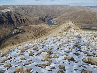 My ridge hike up to Lime Hill. The confluence of The Grande Rond and Snake Rivers below.