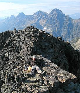 Yana relaxing near the summit