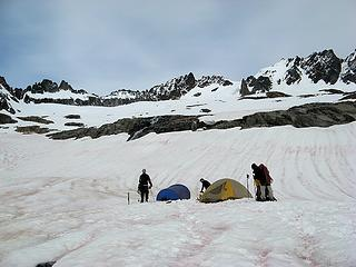 Tents in Boston Basin (Sharkfin, Boston, Sahale above)