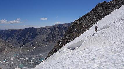 Eric crossing the bergschrund