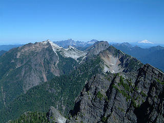 Vesper, Three Fingers, White Horse, Big Four, Sperry, Morning Star, and Mt. Baker as seen from the summit of Gothic Peak.