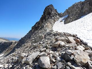 after large talus traverse, exit through notch