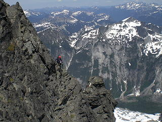 One of many traverses high on Nooksack Tower.
