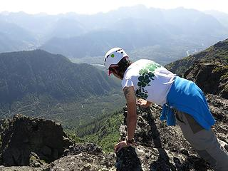 Carla looking over the edge at the Skykomish Valley