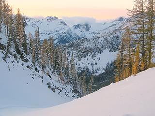 Looking down the col at sunset