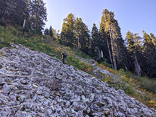 Nearing the top of the talus field after 400' elevation gain from the bottom. Our route went left before the very end to catch a steep part of the ridge leading up 200' to a the narrowest ridge on the whole trip -- kind of like a rooster comb.