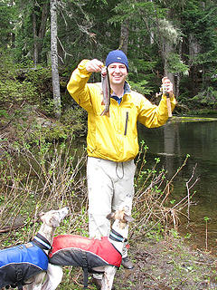 Jeremy and the whippets sure love their fish!