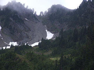zoom shot of Fisher's Notch from White Creek meadows