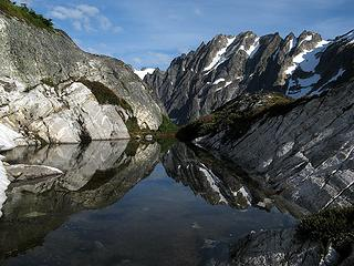 Picket Pass Tarn reflecting West Fury (taken later while hiking out)