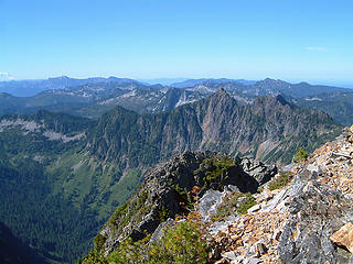 SW view from Gothic Peak as seen from the summit of Gothic Peak.