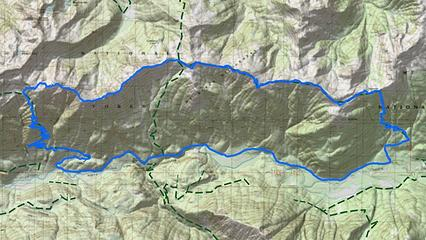 GPS track, 26 miles total