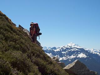 steep heather traverse