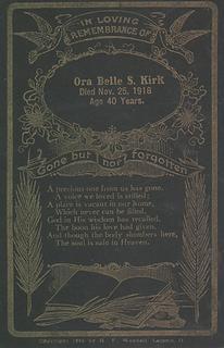 Ora Belle Steck memorial card