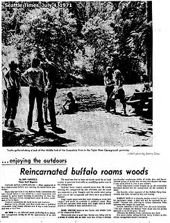 Buffalo Party gathers at the old Taylor River campground on July 4, 1971