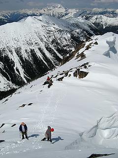 Break area below the summit